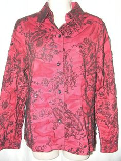 Coldwater Creek Red Black Lace Overlay Floral Sparkling Shiny Top S #coldwatercreek #lace #redblack #sparkling #shiny #fashion #ebay