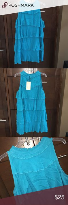 "Blue tiered dress -NEW! Gorgeous 100% cotton sleeveless dress with high neck. Large tiered turquoise blue ruffles. 37"" long. Komil Dresses Midi"