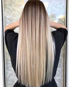 43 Balayage High Lights to Copy Today Our top picks for balayage high lights to copy. Perfect styles for blonde highlights, dark brown or brunette hair styles, and natural curls and waves. Balayage Straight Hair, Brown Blonde Hair, Brunette Hair, Blonde Wig, Best Blonde Hair, Long Blond Hair, Straight Long Hair, Honey Blonde Hair Color, Medium Blonde