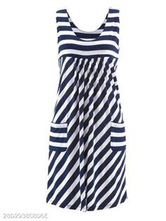 Ladies Plus Size Chic Sleeveless Summer Short Loose Dress With Pockets . Ladies Plus Size chic sleeveless summer short loose dress with pockets Plus Size Summer 2018 Casual Women Dress Fashion O-ne. Plus Size Chic, Plus Size Summer Dresses, Flirt, Skirt Outfits, Striped Dress, Ideias Fashion, Casual Dresses, Clothes For Women, Lady