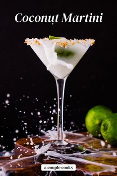 This coconut martini is creamy and dreamy, featuring vodka and lime juice! Add a toasted coconut rim and it's perfection. | alcoholic drinks | drinks | cocktails | vodka cocktails | cream of coconut drinks | coconut cocktails | martini recipes | #coconut #coconutmartini #martinirecipe #easymartini #creamofcoconut #coconutcream #coconutcocktail Best Vodka Cocktails, Vodka Mixed Drinks, The Best Vodka, Refreshing Cocktails, Yummy Drinks, Alcoholic Drinks, Beverages, Coconut Martini, Coconut Margarita