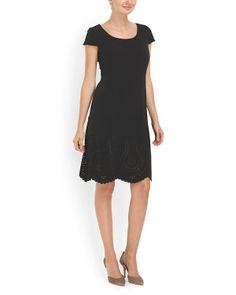 Crepe Embellished Hem Dress