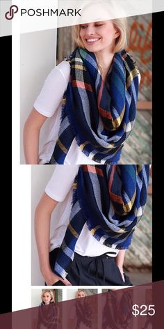 """NEW! Multicolored frayed oversized blanket scarf 58x58"""" soft 100% acrylic  Accessories Scarves & Wraps"""