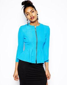River Island | River Island Zip Front Jacket at ASOS $74.08  Cute sky blue peplum blazer. Definitely in my dreams