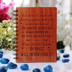 Roald Dahl: Those who don't believe in magic will never find it - Personalized Wooden Notebook - Large / Mahogany