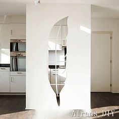 Alrens_DIY™ 6pcs=1 Feather Mirror Surface Crystal Wall Stickers DIY Acrylic 3D Home Decal Living Room Murals Wall Paper Decor adesivo de parede Silver&Gold (Silver)