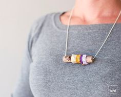 Necklace++crochet+&+wood++lavender+violet+mustard+and+by+idniama,+$30.00
