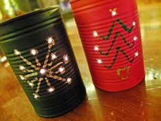 recycled crafts -Christmas tree lanterns made from food cans
