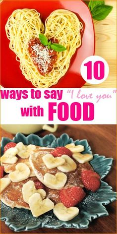 """Fun ways to say """"I love you"""" with food. Great food ideas to celebrate the holiday. Fun ways to say """"I love you"""" with food. Great food ideas to celebrate the holiday. Valentines Day Dinner, Valentines Day Treats, Valentines For Kids, Valentine Party, Holiday Recipes, Great Recipes, Favorite Recipes, My Funny Valentine, Birthday Dinners"""