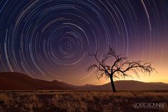 A startrail image taken in Namibia's Sossusvlei. The warm glow comes from the setting sun and a sandstorm, which had made it impossible for me to go deeper into the valley.  -Joerg Bonner