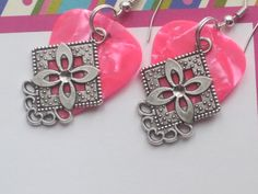 Pink Guitar Pick Earrings  Dangle Charm  Upcycled by cynhumphrey, $6.00