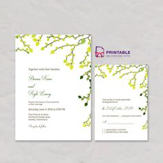 Greenery Invitation and RSVP Set - free printable templates for wedding invitation and RSVP