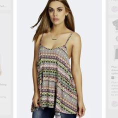 Neon Aztec swing top Cute stretchy swing cami top with neon Aztec print! Never worn but no tags. Boohoo Tops