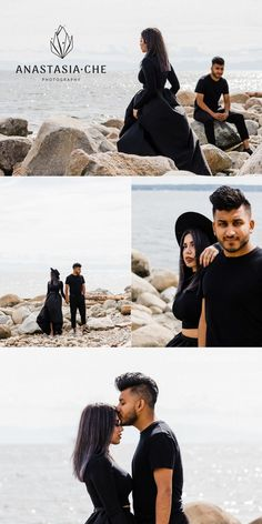 This minimalist black-and-white engagement photo shoot happened in North Vancouver. I took very strong, conceptual photos of Filza and Sameed. Pre Wedding Photoshoot, Photoshoot Beach, Engagement Photo Inspiration, Wedding Inspiration, Black And White Wedding Theme, Beach Engagement Photos, How To Pose, Beautiful Couple, Couple Photography