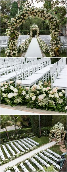 Romantic outdoor wedding ceremony, white roses, floral covered arbor, white chairs, flowers lining the aisle, black-tie wedding, formal // Samuel Lippke Studios