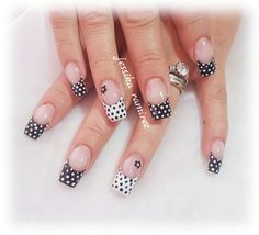 Classy Nails, Fancy Nails, Stylish Nails, Trendy Nails, Cute Nails, Nail Art For Beginners, French Nail Art, Nail Time, Polka Dot Nails