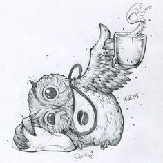 My pillow and tea. Owl Tattoo Drawings, Animal Drawings, Cute Drawings, Drawing Sketches, Owl Coffee, Owl Quilts, Baby Quilts, Funny Tattoos, Owl Art