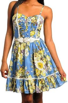 Sexy Blue Floral Belted Button-up Smocked Padded Bust Vtg-y Cleavage Dress, pin-up style dresses for party dress or festival, casual dresses to show off at festivals, Bardot inspired dresses that are short dresses, Lolita style dresses for back to school