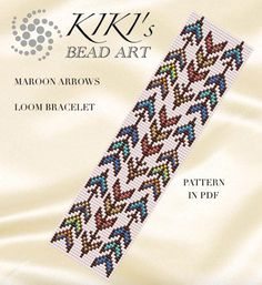 Bead loom patternMaroon arrows native inspired LOOM bracelet
