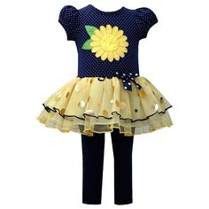 Bonnie Jean Tiered Butterfly Tunic & Leggings Set - Toddler