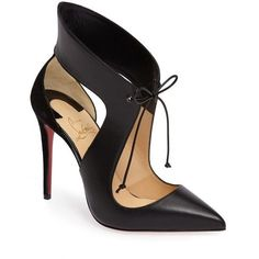 Women's Christian Louboutin Ferme Rouge Pointy Toe Pump ($995) ❤ liked on Polyvore featuring shoes, pumps, black leather, stiletto pumps, black shoes, leather pumps, pointed toe pumps and pointy-toe pumps
