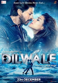 Bollywood action comedy starring Shah Rukh Khan and Kajol. Rohit Shetty's latest action comedy extravaganza 'Dilwale' hits cinemas after the blockbuster success of 'Chennai Express', which earned him a nomination for the Filmfare Award for best director. Srk Movies, 2015 Movies, Bollywood Stars, Dilwale 2015, Site Pour Film, Best Bollywood Movies, Hindi Movies Online, Drame, Hindi Movies