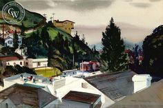 Hollywood Hills - Rain, 1945, California art by Hardie Gramatky. HD giclee art prints for sale at CaliforniaWatercolor.com - original California paintings, & premium giclee prints for sale