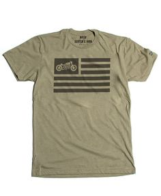 Our popular United Moto flag design now in a new version. Show your passion for motorcycles and two wheeled culture with this classic design mens crew neck tee shirt. Cafe Racer / Bobber / Cruiser / C