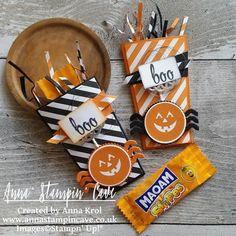 Anna' Stampin' Cave Stampin Up Popcorn Box Die Halloween Treat Holders Basic Black Pumpkin Pie