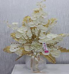Sarı simli orkide yapay çiçek