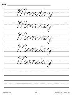 Homeschool parent free cursive handwriting book bgc pinterest 7 free days of the week cursive handwriting worksheets fandeluxe Images