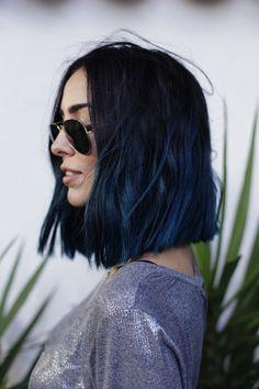 Black to dark blue ombre hair, bob, lob, long bob hair cut, women's, stylish, edgy, modern, rebel