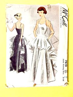 50s Evening Gown McCall 7610 Evening Dress Printed Pattern Vintage Dress Patterns, Clothing Patterns, Vintage Dresses, Vintage Outfits, Vintage Fashion, Vintage Clothing, Evening Gown Pattern, Pin Up Princess, Expensive Clothes