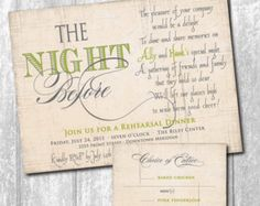 Beautiful Rehearsal Dinner Invitation with Choice or Entree or RSVP card to match/DIGITAL FILES/ printable /wording & colors can be changed