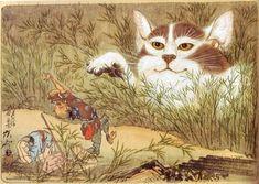 河鍋暁斎 Yuki Onna, Japanese Graphic Design, Japanese Prints, Neko, Asian Cat, Long Painting, Japanese Folklore, Japanese Cat, Japanese Painting