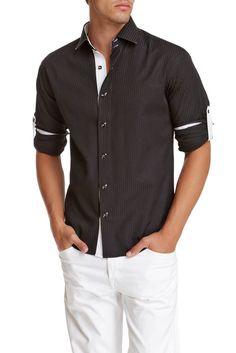 132239 - Black Button Up Long Sleeve Dress Shirt