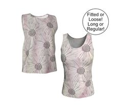 Pink Floral Tank Top Loose or Fitted XS S M L XL Printed