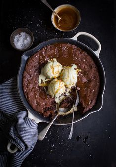Double chocolate chip skillet cookie of your dreams recipe #recipe #baking #chocolate #cookie