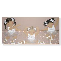 Cuadro infantil personalizado con el nombre. Lienzo niñas bailarinas tutú blanco-(mod.542). Un regalo para bebés, niños y niñas, de decoración infantil, artesanal y hecho a mano.