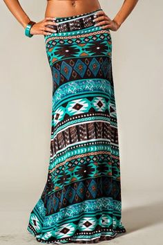Blue, teal, mint, grey, B&W Diné pattern maxi skirt w/ matching teal & black smartwatchstyle bracelet