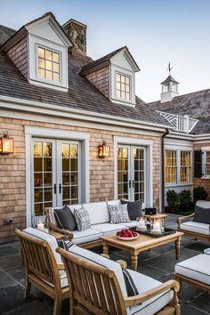 HGTV Dream Home patio with Ethan Allen patio furniture & copper lanterns