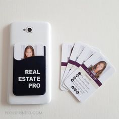 real estate phone accessory, real estate marketing, real estate gift this silicone card holder sticks to the back of your smartphone or laptop cover. specifications: size is (width) x (height), black silicone holder with white print Realtor Business Cards, Real Estate Business Cards, Real Estate Marketing, Real Estate Gifts, Hairstylist Business Cards, Sell Your House Fast, Business Card Holders, Phone Holder, Things To Sell
