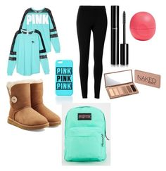 """""""teen girl starter pack"""" by dreahernandez on Polyvore featuring Victoria's Secret, Max Studio, UGG Australia, JanSport, Chanel, Eos and Urban Decay"""