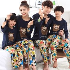 Women Girl Kid Bear Spring Fall Pajamas Mother Father Child Pajamas Family Matching Clothing Baby Mom Men Lover Home Clothes Family Set, Matching Family Outfits, Mother And Father, Couple Shirts, Winter Looks, Mom And Baby, Kids And Parenting, Pajama Set, Children