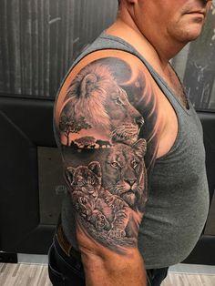 Lion Leg Tattoo, Animal Sleeve Tattoo, Lion Tattoo Sleeves, Lion Head Tattoos, Lioness Tattoo, Bull Tattoos, Lion Tattoo Design, Best Sleeve Tattoos, Tattoo Sleeve Designs