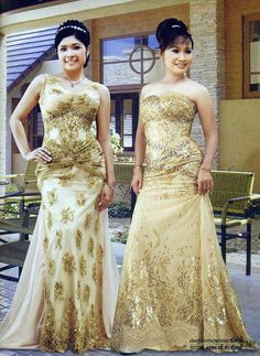I like these two dresses, though for my Cambodian wedding dress, I would add something a little more traditional, like the sash. Wedding Gown Cakes, Bridal Gowns, Wedding Gowns, Wedding 2017, Wedding Reception, Laos Wedding, Khmer Wedding, Wedding Colors, Wedding Styles