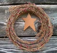 Rustic Country Twig Wreath  Burgundy Pip by CaneRiverCrafts, $19.99