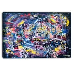 "DesignArt Surreal City Abstract Graphic Art on Wrapped Canvas Size: 30"" H x 40"" W"