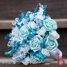 turquoise aqua snowflake winter wonderland theme bouquet