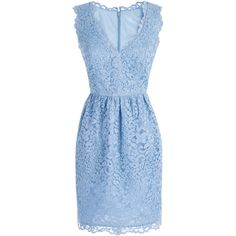 Shoshanna Periwinkle Lace Sierra Dress ($55) ❤ liked on Polyvore featuring dresses, lacy dress, periwinkle blue dress, periwinkle lace dress, periwinkle dress and blue lace dress